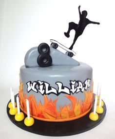 Skateboard cake for a child's bday. Skateboard Party, Safari Cakes, Sport Cakes, Cake Central, Cake Images, Cakes For Boys, Themed Cakes, Cake Designs, Amazing Cakes