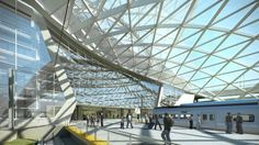 Gensler's design for the South Terminal Redevelopment Program aims to reinvent the way Denver International Airport (DIA) connects to the city — providing tr. Chinese Architecture, Beautiful Architecture, Hamad International Airport, Oslo Airport, Airport Design, Indoor Waterfall, Pedestrian Bridge, Union Station, Denver