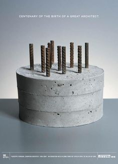 Poster by Saatchi&Saatchi for exhibit celebrating birthday of architect Giuseppe Terragni Creative Advertising, Engineering Cake, Architecture Cake, Little Gifts For Him, Concrete Cake, Birthday Gifts For Husband, Cakes For Men, Cake Decorating Techniques, Fondant Cakes