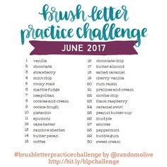 Consistent practice is the only way to get better at brush lettering and having a ready-to-go set of words to practice makes it easy. By joining the monthly cha