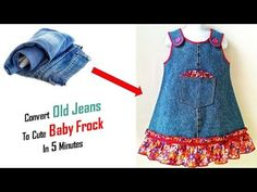 Best Use Of Old Jeans ,Transform Your Old Clothes In just 5 Minutes Toddler Dress, Toddler Outfits, Kids Outfits, Baby Summer Dresses, Baby Dress, Denim Bags From Jeans, Old Jeans Recycle, Recycled Denim, Recycled Clothing