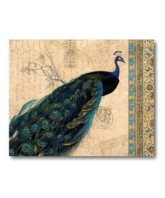 Take a look at this Peacock Tan Tapestry II Canvas Wall Art by COURTSIDE MARKET on #zulily today!