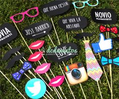 Kit Props Photo booth Casamientos: divertidos accesorios para sacarse fotos! #wedding #photobooth #photos