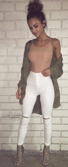 #winter #outfits brown spaghetti strap top and white pants