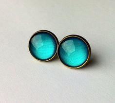 Aqua Earrings, science studs earrings, physics jewelry, fake plugs, plugs earrings, bronze or silver tone turquoise studs earrings, geekery on Etsy, $11.43