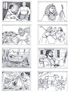 Historia bíblica Bible Story Crafts, Bible Stories, Bible Heroes, Sunday School Coloring Pages, Children's Church Crafts, Moise, Bible Coloring Pages, Egypt Art, Vacation Bible School
