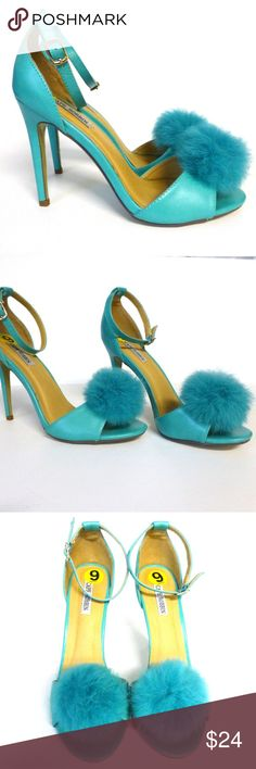 """Turquoise peep toe ankle strap fur puff prom heels New display shoes show signs of being tried on, but are not worn. Writing and sticker residue on bottoms. Adjustable straps with buckle closures. Open peep toes. 4 3/8"""" high heels. Synthetic materials. Beautiful turquoise color! Shoes Heels"""