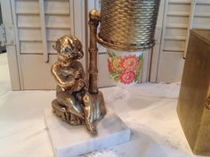 Gold Dixie Cup Holder With Cherub ~ Bathroom Decor ~  Hollywood Regency ~ Cup Dispenser for Restroom ~ Unique Gift for Her ~ Mid Century