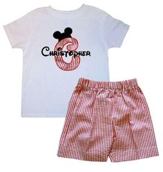 Custom Disney Appliqued Initial with Mickey Ears Hat Red Stripe Seersucker Shorts Set for Boys.