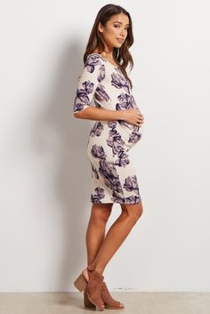Purple Rose Printed Fitted Maternity Dress