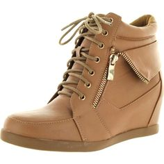 Top Moda Womens Peter-30 Fashion Sneakers ($40) ❤ liked on Polyvore featuring shoes, sneakers, wedge heel sneakers, wide sneakers, wedge sneakers, top moda shoes and wide flats