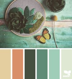 Today it's seafoam, teal, darkest green, palest minty-grey, a terracotta and a light tan. Yesterday's grey and red was fab! Gorgeous x