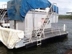 Camper trailer turned pontoon. Redneck ingenuity at its best.