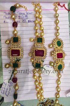 Jewellery Designs: Bajubandh Designs 16 to 22 GMS Simple Necklace Designs, Simple Jewelry, Emerald Jewelry, Gold Jewelry, Gold Necklaces, Gold Pendent, Arm Bracelets, Gold Jewellery Design, Bridal Jewelry