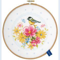 Little Bird and Flowers - kruissteekpakket met telpatroon Vervaco