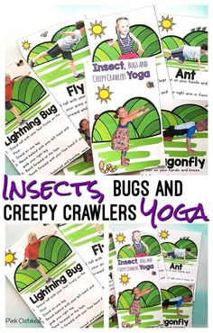 These Insects, Bugs and Creepy Crawlers Yoga Cards and Printables are fantastic for adding movement into the school day! Preschoolers will have a blast with these activities pretending to be ants, dragonflies, bugs and more! Preschool Bug Theme, Movement Preschool, Preschool Garden, Preschool Learning, Kindergarten Activities, Fun Learning, Toddler Learning, Preschool Ideas, Preschool Crafts