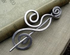 Aluminum Dancing Swirls and Waves Shawl Pin, Scarf Pin, Sweater Brooch, Hair Pin - Light Weight - Hair Accessories, Knitting, Women