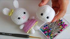 How to wear Amigurumi eye? Crochet Baby Toys, Crochet Gifts, Cute Crochet, Crochet Animals, Crochet Dolls Free Patterns, Crochet Designs, Doll Patterns, Crochet Dinosaur, Crochet Rabbit