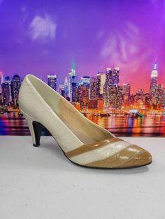 Womens shoes JOYCE vintage beige leather eelskin classic high heels pumps sz 5 M