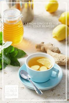 This Honey Lemon Ginger Elixir is a natural cold remedy you can easily make to help fight off the cold and flu, as well as soothe coughs and sore throat. Flu Remedies, Herbal Remedies, Health Remedies, Cold Medicine, Ginger Benefits, Natural Cold Remedies, Ginger Tea, Honey Lemon, Healthy Living Tips