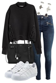"""perrie insp"" by bekahtee ❤ liked on Polyvore featuring H&M, Yves Saint Laurent, adidas Originals and Miss Selfridge"