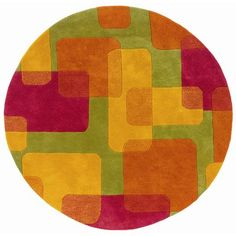 """Zoomie Kids Leanne Lime Squares and Rectangles Rug Rug Size: Round 7'9"""""""