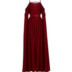 Elie Saab Ruffle-trimmed cut-out silk gown (£4,425) ❤ liked on Polyvore featuring dresses, gowns, elie saab, gown, sleeve evening dress, red evening gowns, red cocktail dress, evening dresses and holiday dresses