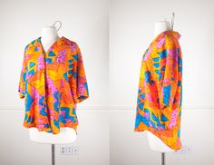 Vintage 80s Avant Garde Blouse / Colorful Neon Top / Graphic Print High Low Top / Abstract Print Retro 80s Oversized Shirt / Retro 80s Top by BlueHorizonVintage on Etsy