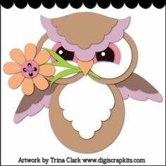 Spring Hoots 1 Cutting File : Digital Scrapbook Kits, Cute Clip Art, Cutting Files, Trina Clark, Instant downloads, commercial use allowed, great prices.