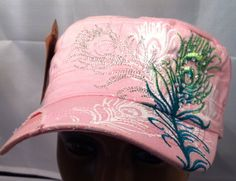 Rhinestone peacock feather cadet cap in pink. $12.99