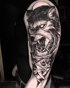 blackwork wolf tattoo sleeve by @brunosantostattoo
