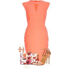 Coral Pencil Dress by talvadh on Polyvore featuring River Island and Anne Klein