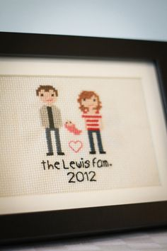 These are ridiculously cute. Pixel-like hand stitched family portraits.