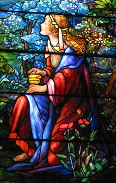 detail of Tiffany window depicting Mary Magdalene, St. Mark's Lutheran Church, Baltimore