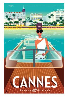 Cannes   Vintage Style Poster  Cote D'Azur  Sout of France   French Riviera  Find Super Cheap International Flights to Cannes, France ✈✈✈ https://thedecisionmoment.com/cheap-flights-to-europe-france-cannes/