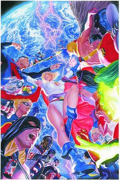 Cover by Alex Ross  It's the Justice Society of America vs. the Justice Society Infinity of Earth-2 with the fate of Power Girl at the center of it all! Meanwhile, Starman struggles with his returned sanity as he embarks on his true mission in our time period – one that will have vital consequences for the Crisis of the 31st century!