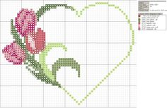 Schema punto croce Cuore Tulipani