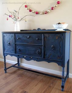 Buffet painted -- Soldier Blue by Old Fashioned Milk Paint Co. then used a black glaze to darken it a little and sealed with wax.