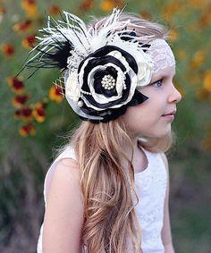 Look at this #zulilyfind! White & Black Flower Garden Headband by Whitney Elizabeth #zulilyfinds
