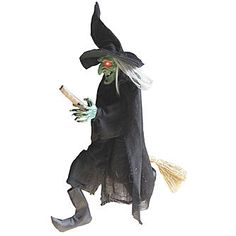 Halloween Decor - Witch Hanging On A Broom