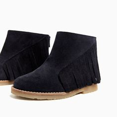 ZARA - SHOES AND BAGS - FRINGED LEATHER BOOTS WITH ZIP