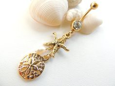 Hey, I found this really awesome Etsy listing at https://www.etsy.com/listing/205484794/sand-dollar-starfish-belly-button-ring