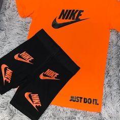 Image of Orange just do it Nice Outfits, Cute Summer Outfits, Women's Fashion, Fashion Outfits, Fashion Tips, Champion Sports, Workout Clothing, Baseball Jerseys, Nike Logo