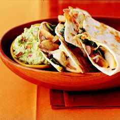 Chicken Quesadillas A deli-roasted chicken is a handy main ingredient to have for quick dinner ideas. This dish really needs no recipe. Simply shred the chicken and tuck it into tortillas, along with cheese and other favorite fillings.