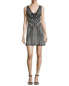 TCJWK Herve Leger Sleeveless Stripe-Knit Flutter-Hem Dress, Black