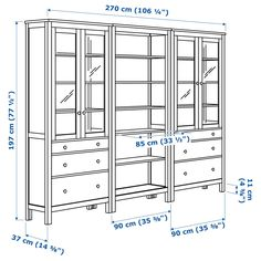 HEMNES Storage combination w doors/drawers White stain 270 x 197 cm - IKEA Glass Door Hinges, Glass Cabinet Doors, China Cabinet, Hemnes Bookcase, Ikea Canada, Drawer Runners, White Stain, Small Drawers