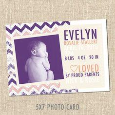 Chevron Custom Printable Baby Birth Announcement Card - COLTON Purple