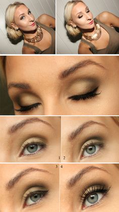 Quick, simple eye makeup for everyday: Step 1: Base eye shadow color  Step 2: Crease eye shadow color  Step three: Eye liner  Step 4: Mascara