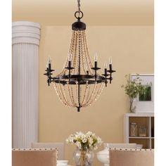 Sonoma Natural Beaded Black 8-light Chandelier - Overstock™ Shopping - Great Deals on Chandeliers & Pendants