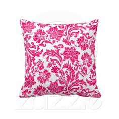 Hot Pink Damask  Totally beautiful hot pink damask American MoJo throw pillow. Perfect way to add a bright pop of color to any room!